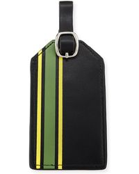 Neiman Marcus Striped Faux-leather Luggage Tag - Black