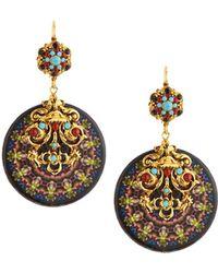 Jose & Maria Barrera Kaleidoscope Decoupage Medallion Drop Earrings - Metallic