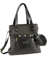 Nicole Miller Soho Patterned Tote Bag W/ Pullout Pouches - Black