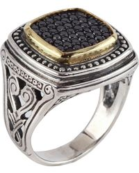 Konstantino - Asteri Ornate Square Pave Black Diamond Ring - Lyst