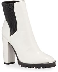 BCBGeneration Leah Leather Lugged-Sole Booties - Black