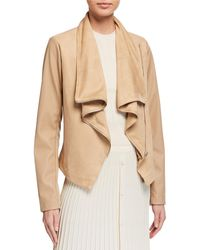 Bagatelle Faux-suede Asymmetric Drape Jacket With Faux-leather Sleeves - Natural