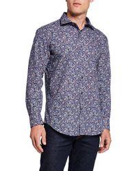 Bugatchi Men's Long-sleeve Printed Sports Shirt - Blue