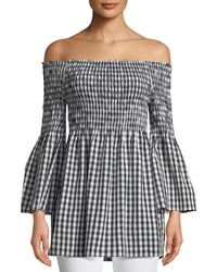 fcf105f16f34d Max Studio - Off-the-shoulder Bell-sleeve Gingham Blouse - Lyst