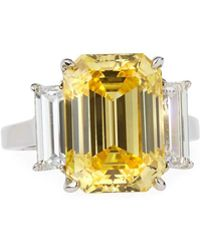 Fantasia by Deserio - Emerald-cut Canary Cz Ring W/ Baguettes - Lyst