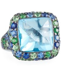 Roberto Coin - 18k White Gold Sugarloaf Multi-stone Ring - Lyst
