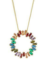 Nakamol Rhinestone Circle Pendant Necklace - Metallic