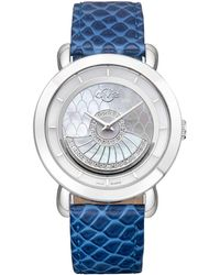Gv2 - Womans Swiss Quartz Catania Teal Diamond Leather Strap Watch - Lyst