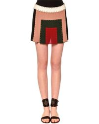 Valentino - Embellished Patchwork Mini Skirt - Lyst