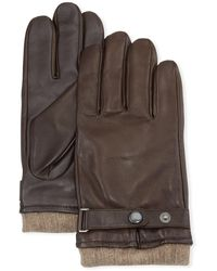 Neiman Marcus Belted Leather Tech Gloves - Brown