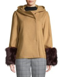 Laundry by Shelli Segal - Cowl-neck Jacket With Faux-fur Cuffs - Lyst