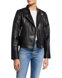 Bagatelle Quilted Leather Moto Jacket - Black