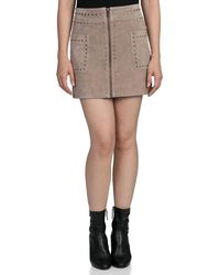 Bagatelle Stud-trim Suede Mini Skirt - Brown
