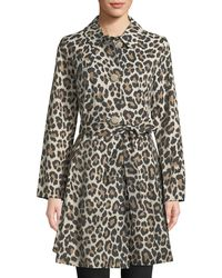 Kate Spade - Cheetah-print Belted Trench Coat - Lyst