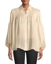 Leon Max - Pleated-shoulder Button-front Blouse - Lyst