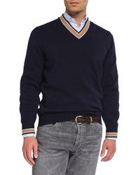 Brunello Cucinelli Men's Cashmere Varsity Sweater - Blue