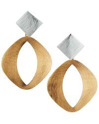 Panacea Two-tone Kite-post Oval-drop Earrings - Metallic