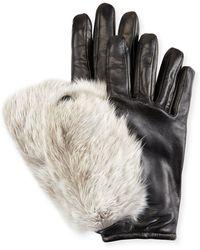 Imoni - Leather & Rabbit Fur Gloves - Lyst