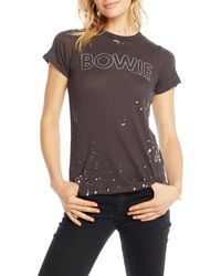 Chaser Silver Bowie Distressed Splattered Tee - Black