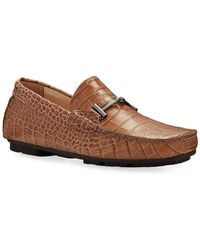 Bugatchi Roma Mock-croc Leather Drivers - Brown