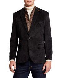 English Laundry Men's Micro Corduroy Sport Coat W/ Zip-out Bib - Black