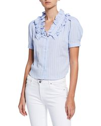 EVIDNT Ruffle Striped Button-down Blouse - Blue