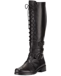 Stuart Weitzman - Policelady Leather Lace-up Knee Boot - Lyst