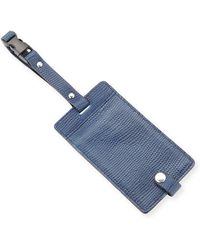 Neiman Marcus Lizard-embossed Leather Luggage Tag - Blue