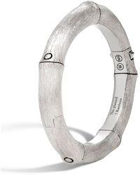 John Hardy Bamboo Brushed Silver Bangle Bracelet Size M - Metallic
