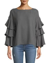 Moon River - Tiered-ruffle-sleeve Top - Lyst