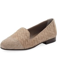 Sesto Meucci - Nicia Studded Woven Leather Loafers Taupe - Lyst