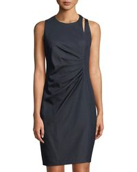 T Tahari - Side-ruched Buckle-shoulder Sheath Dress - Lyst