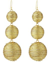 Kenneth Jay Lane | Threaded Triple-drop Ball Earrings | Lyst