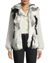 Adrienne Landau - Mottled Rabbit Fur Vest - Lyst
