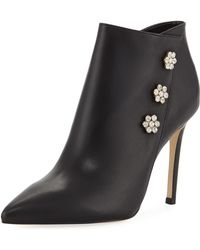 Neiman Marcus - Sparkle Embellished Leather Booties - Lyst