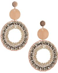 Nakamol - Disc & Crystal Hoop Drop Earrings - Lyst