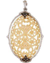 Armenta New World Diamond & Bone Oval Pendant - White