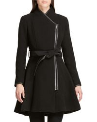 DKNY - Asymmetric-zip Fit-&-flare Belted Jacket - Lyst
