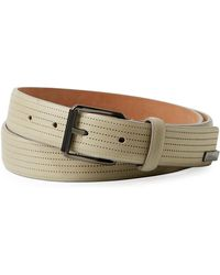 Armani - Men's Perforated Leather Belt - Lyst