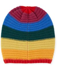 Portolano - Rainbow Knit Cashmere Rapper Hat - Lyst