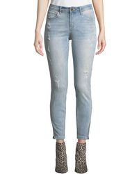 Philosophy Distressed Whiskered Skinny Jeans Blue