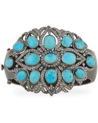 Bavna | Turquoise & Pave Diamond Bangle Bracelet | Lyst