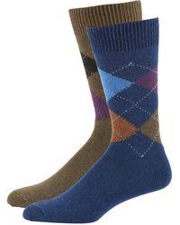 Punto Men's Argyle Knit Socks Two-pack Blue/green
