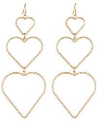 Fragments - Linear Heart Drop Earrings - Lyst