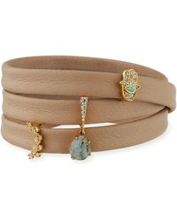 Tai - Leather Wrap Bracelet With Charms - Lyst