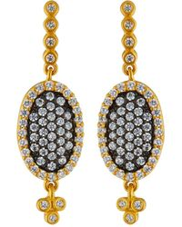 Freida Rothman - Small Pave Oval Drop Earrings - Lyst