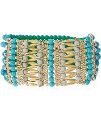 Nakamol Beaded Stretch Bracelet Turquoise/gold - Blue