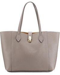 Neiman Marcus Large Leather Golden Lock Tote Bag - Black