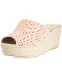 Neiman Marcus - Tina Perforated Slide Wedge Espadrille - Lyst
