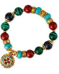 Jose & Maria Barrera Bead-stretch Bracelet W/ Drop - Metallic